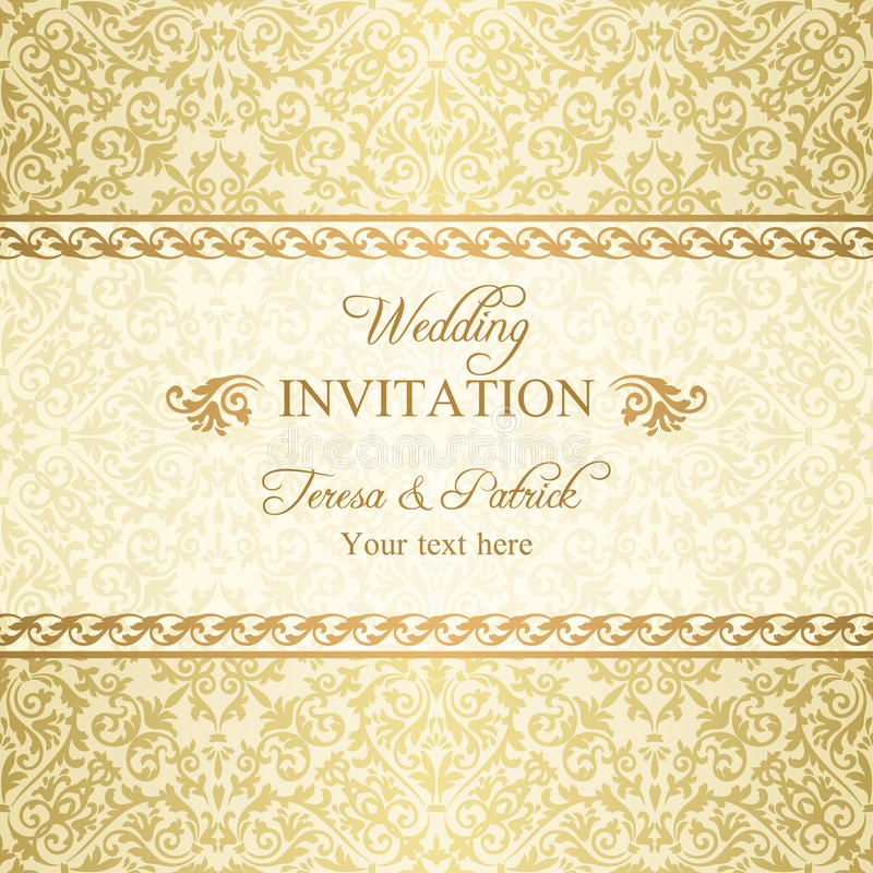 Baroque wedding invitation, gold royalty free illustration
