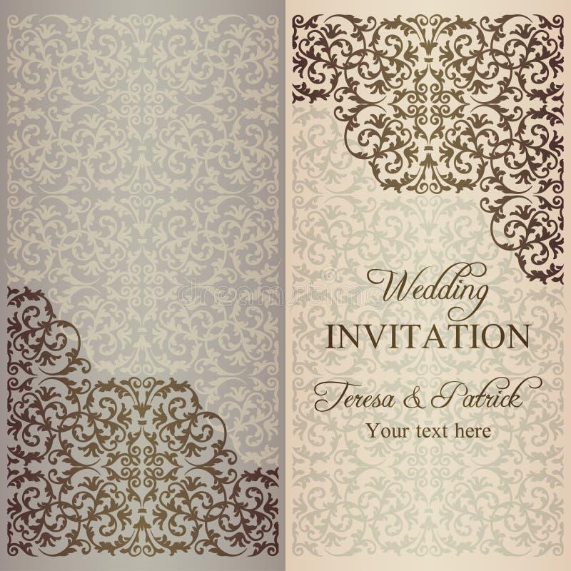 Baroque wedding invitation, patina. Antique baroque wedding invitation, gold patina on beige background vector illustration