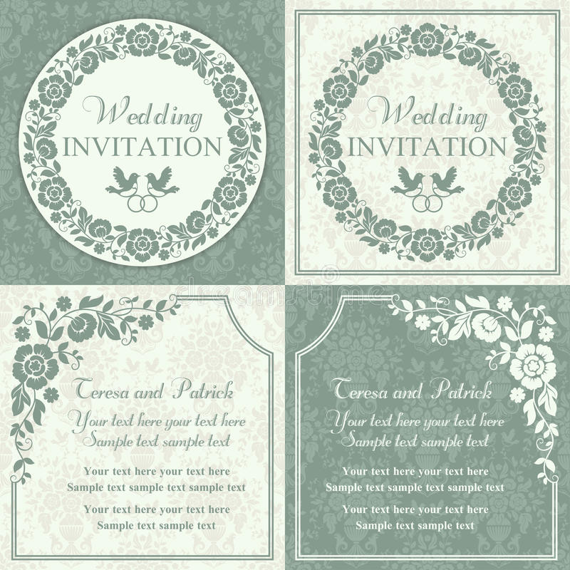 Baroque wedding invitation set, blue and beige. Antique baroque wedding invitation set, ornate round wreath frame, couple of birds with ring, blue and beige royalty free illustration