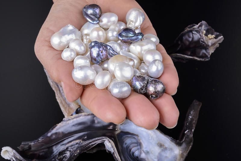 Baroque and white pearls stock images