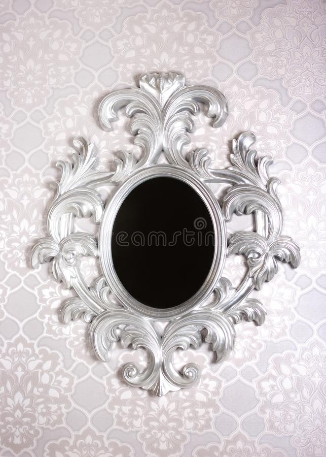Baroque white vinage Frame mirror royalty free stock photography
