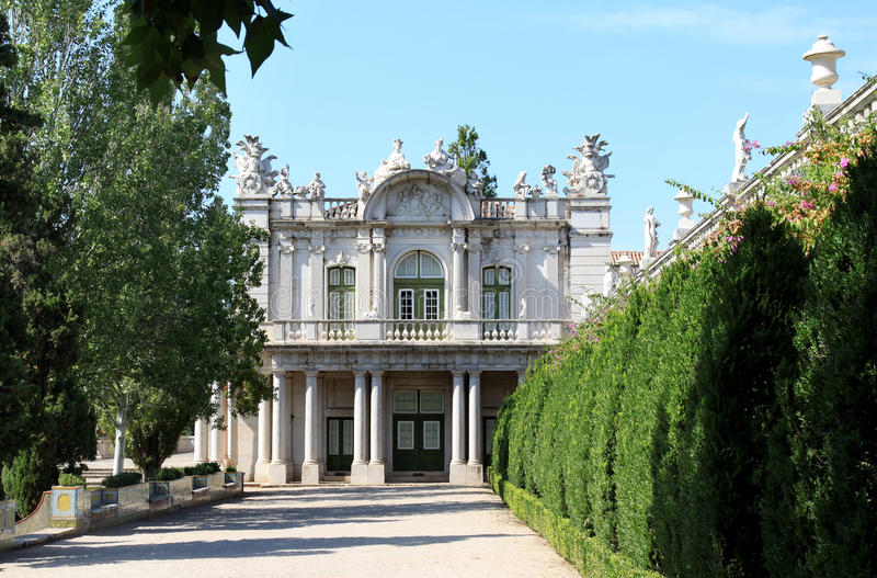 Baroque wing of Queluz National Palace, Portugal. The Queluz National Palace is a Portuguese 18th-century palace located at Queluz, a freguesia of the modern-day stock image