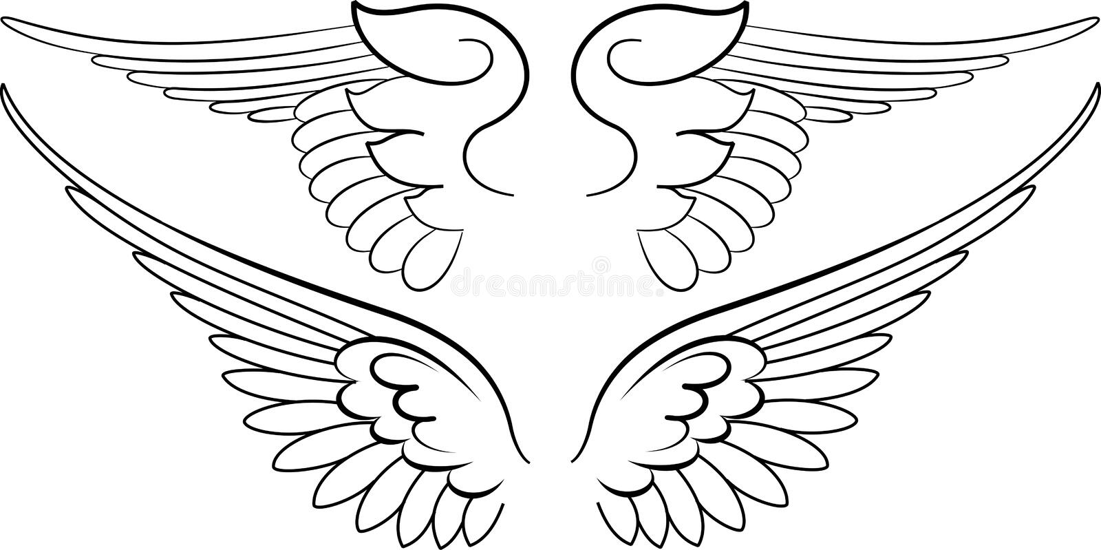 Baroque Wings in Calligraphy royalty free illustration