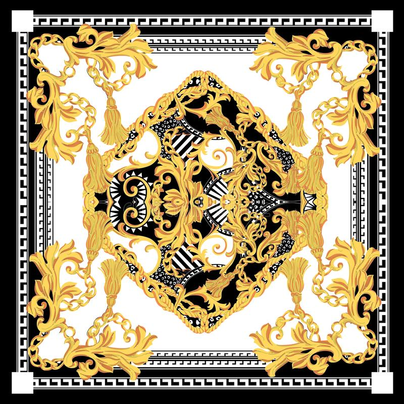 Free Baroque With White Black Gold Scarf. Golden Elements In Baroque, Rococo Style Royalty Free Stock Images - 150302019
