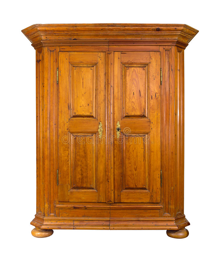 Baroque wooden cabinet. On a white background royalty free stock photos