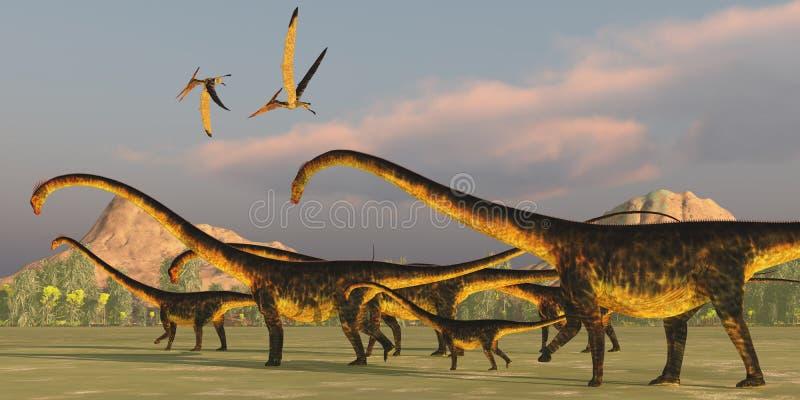 Barosaurusdinosaurieflock royaltyfri illustrationer