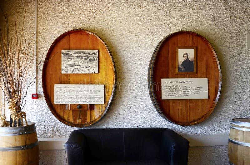 Barossa Valley Penfolds Estate premium wine making company. BAROSSA VALLEY, SOUTH AUSTRALIA - DECEMBER 31, 2014: Interior entrance to Penfolds Wines Estate wine stock photos