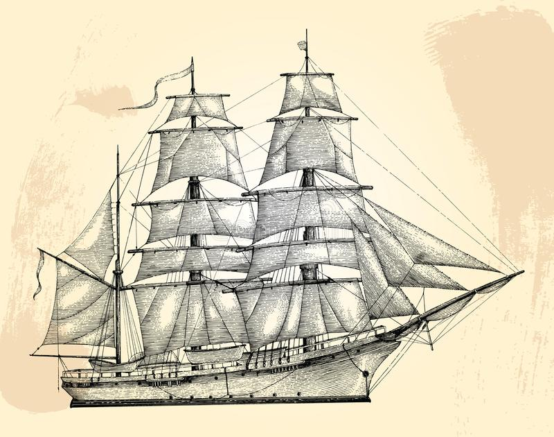Barque hand drawing engraving style,Vintage barque isolate. On grunge background royalty free illustration