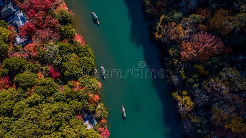 Barquero de la visión aérea que lleva en batea el barco para que turistas disfruten de la f imagenes de archivo