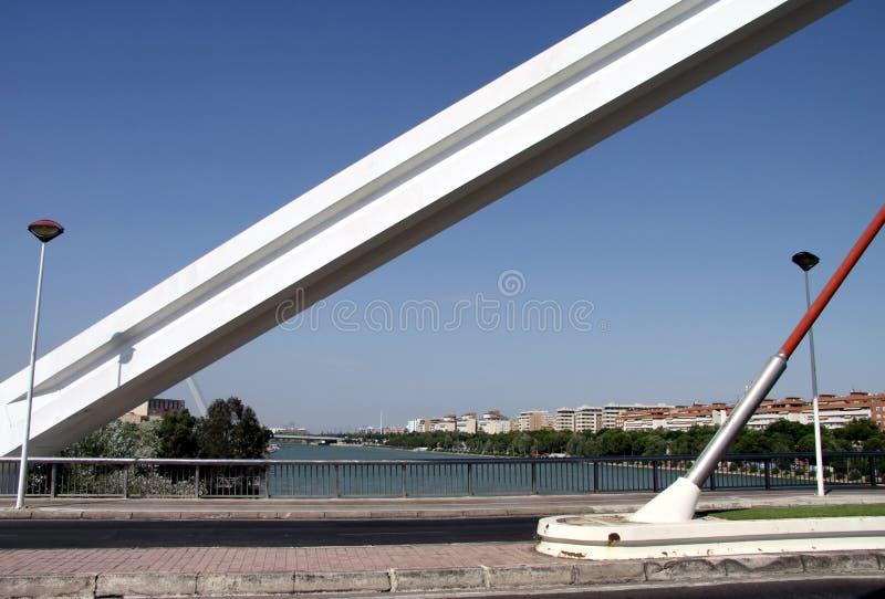 Barqueta Arch Bridge over the Guadalquivir River in Seville stock photo