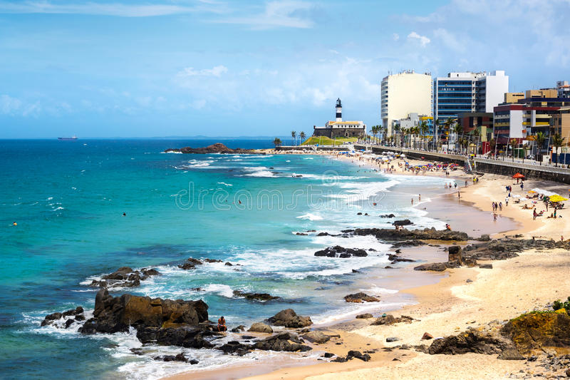 Barra Beach and Farol da Barra in Salvador, Bahia, Brazil. View of Barra beach and famous Farol da Barra (Barra Lighthouse) in Salvador, Bahia, Brazil stock images