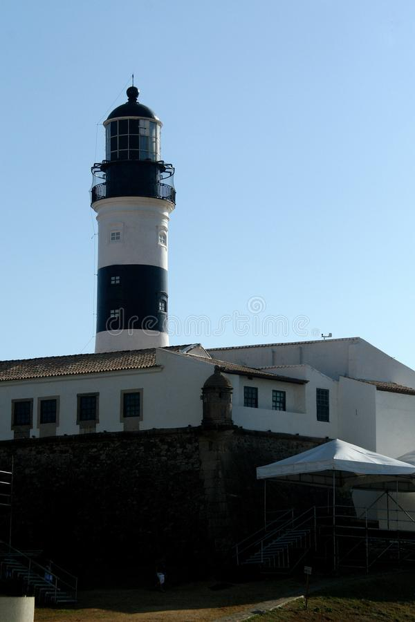 Barra Beach with Lighthouse in Salvador da Bahia.  royalty free stock photography
