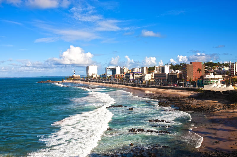 Barra beach salvador of bahia. Barra beach in the beautiful city of salvador in bahia state brazil stock image