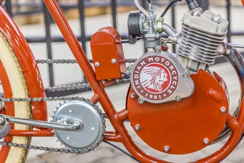 BARRA BONITA, БРАЗИЛИЯ - 17-ОЕ ИЮНЯ 2017: Винтажный индийский мотоцикл стоковое изображение