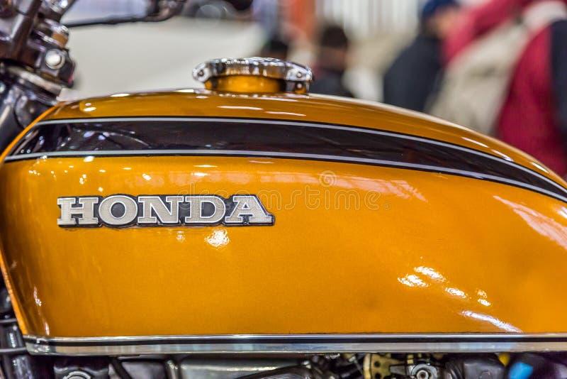 BARRA BONITA, EL BRASIL - 17 DE JUNIO DE 2017: Motocicleta i de Honda del vintage imagenes de archivo