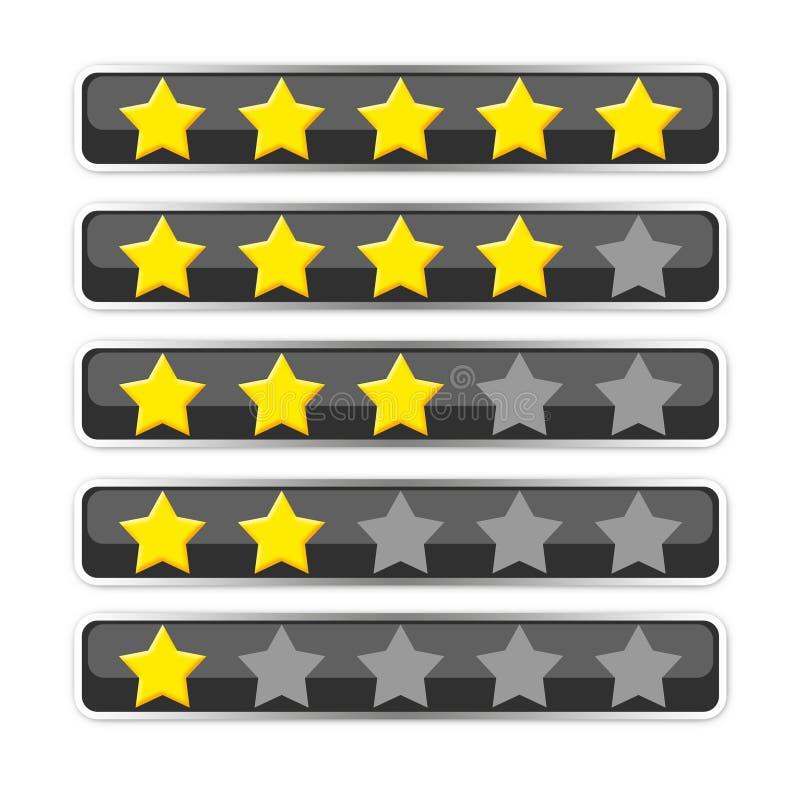 Barra com as estrelas da votação/avaliação ilustração do vetor