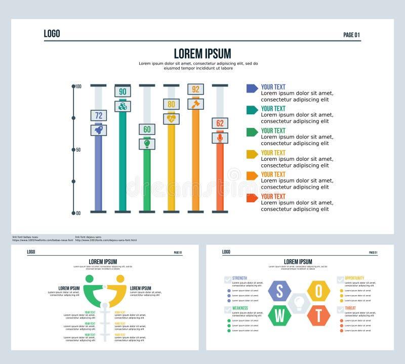 A barra, comparation, swot, ajustou a corrediça da apresentação e o molde de PowerPoint ilustração stock