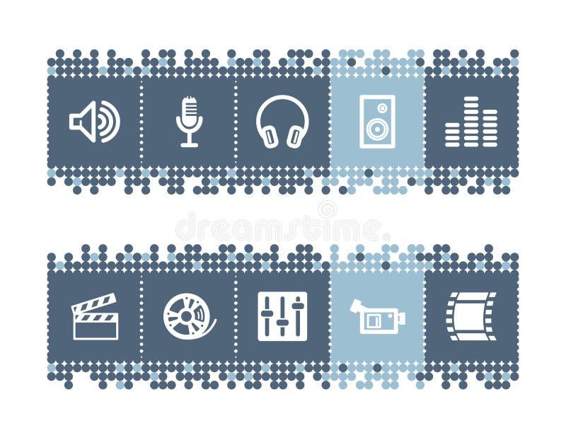 barra con il suono - icone del cinematografo illustrazione vettoriale