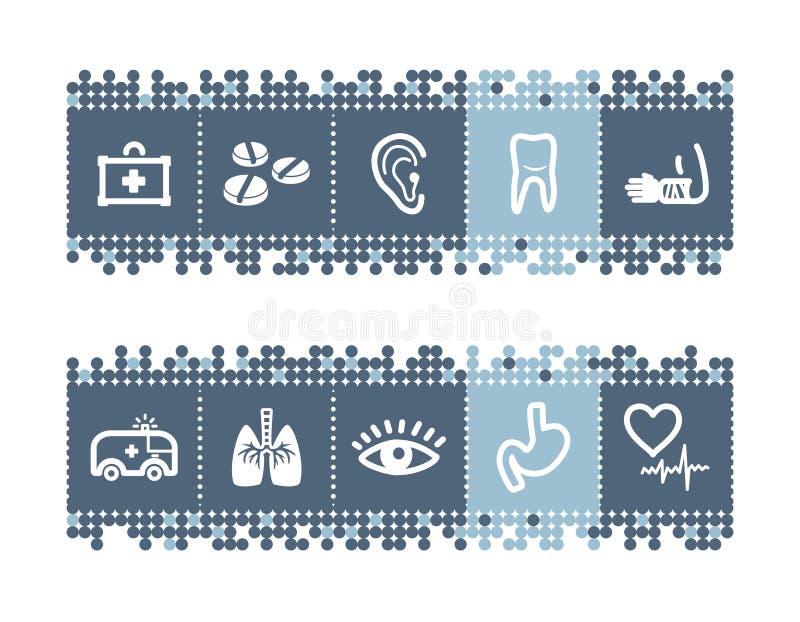 barra con los iconos de la medicina libre illustration