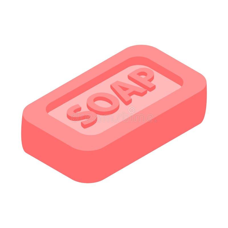 Barra cor-de-rosa do ícone isométrico do sabão 3d ilustração stock