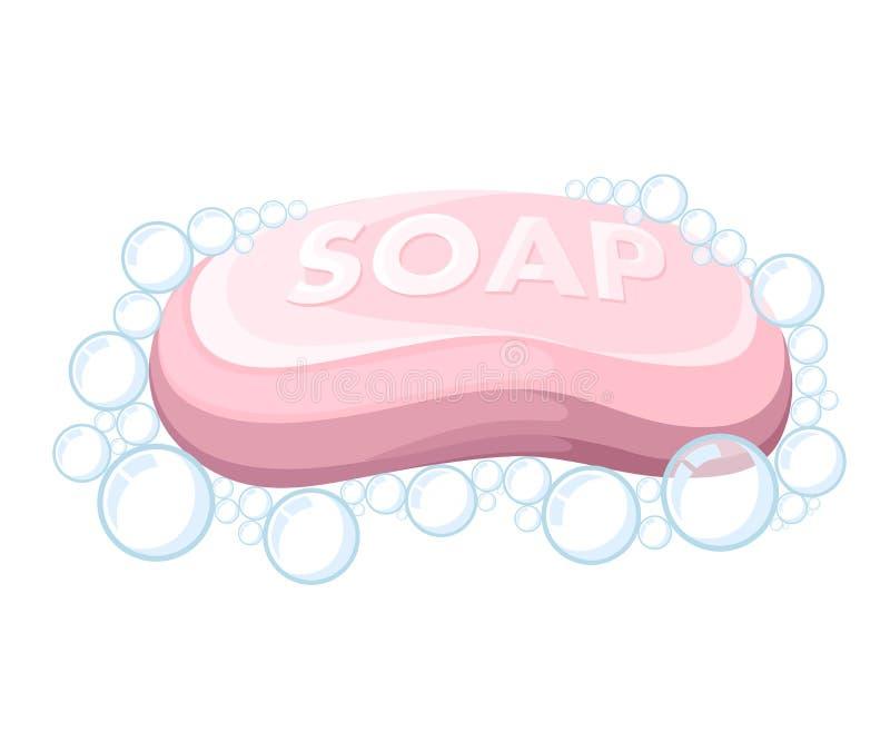 Barra cor-de-rosa do sabão Bolhas de sabão Ícone colorido do banho Ilustração lisa isolada no fundo branco ilustração do vetor