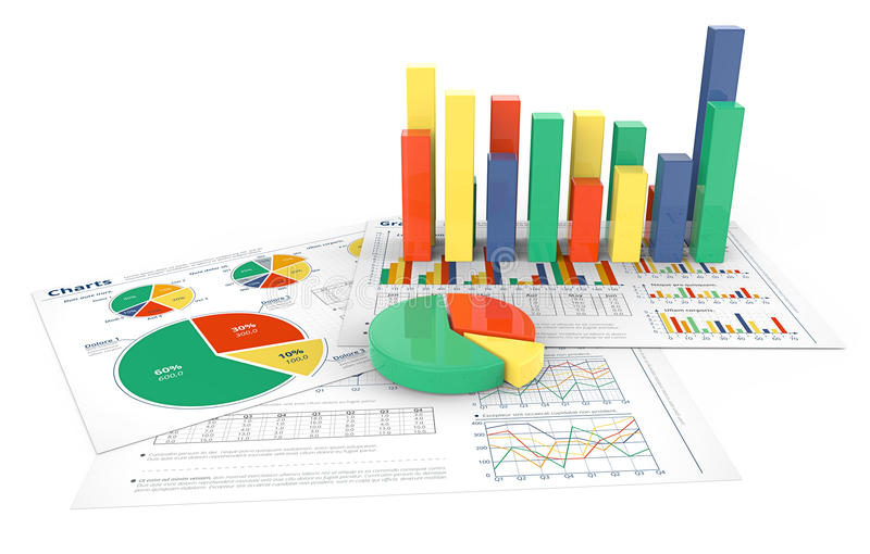 barra 3D e gráfico de setores circulares ilustração do vetor