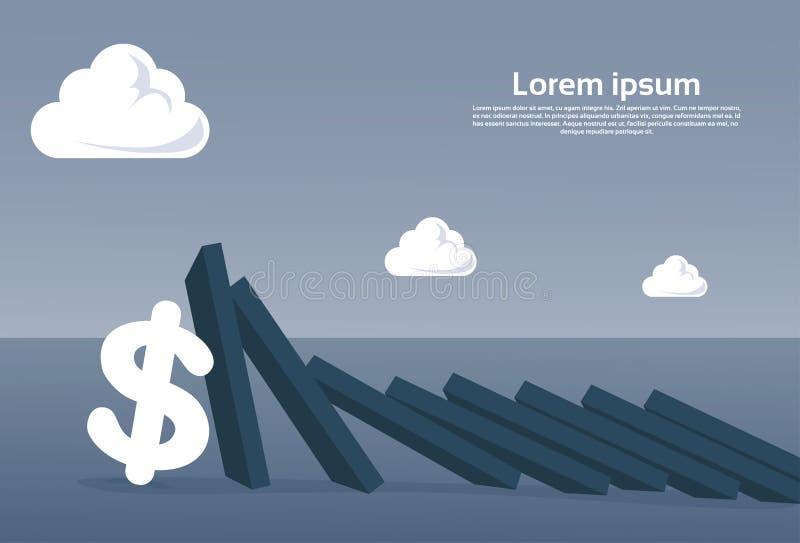 Barra da carta que cai no conceito econômico da crise da falha do sinal de dólar ilustração stock
