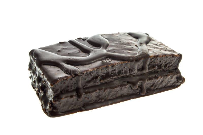 Barra da cookie do chocolate Isolado no fundo branco com trajeto de grampeamento foto de stock royalty free