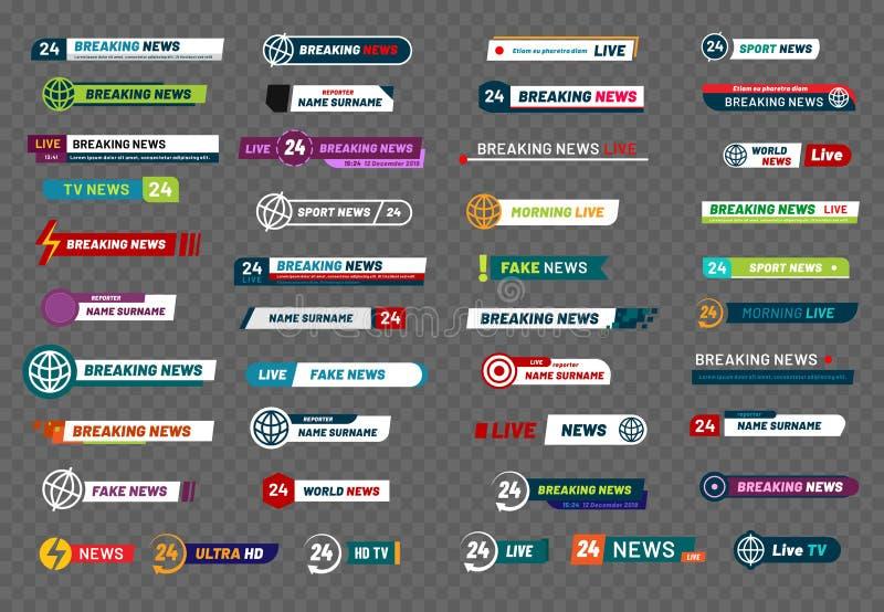Barra da notícia da tevê A bandeira do título dos meios de transmissão da televisão, os títulos do jogador de futebol ou a relaçã ilustração do vetor