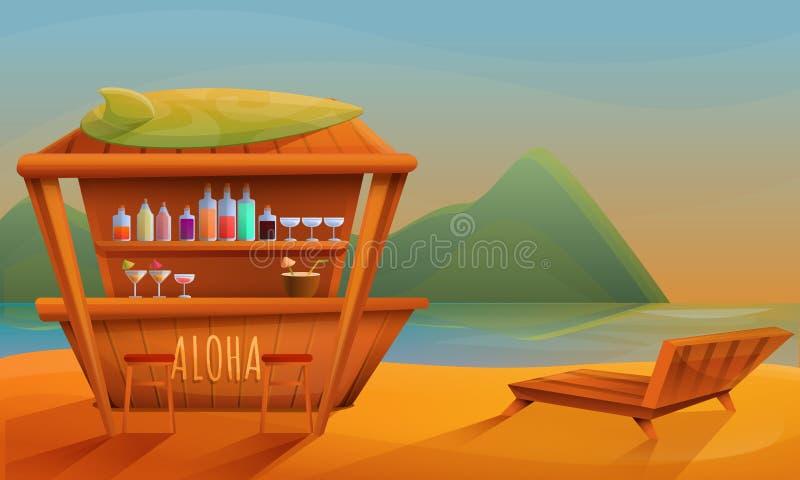 Barra da praia dos desenhos animados no por do sol ilustração stock