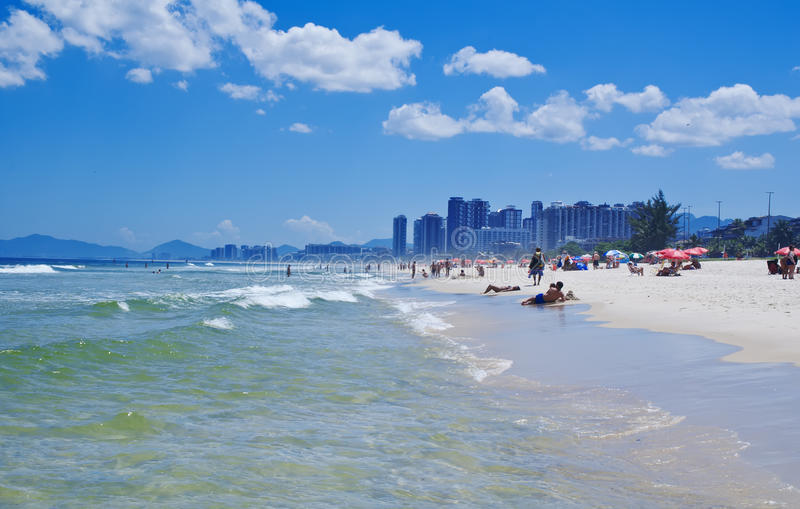 Barra da Tijuca海滩看法在里约热内卢 库存照片