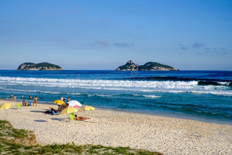 Barra da Tijuca beach on a beatiful afternoon, with Tijucas Islands in the background. Rio de Janeiro royalty free stock image