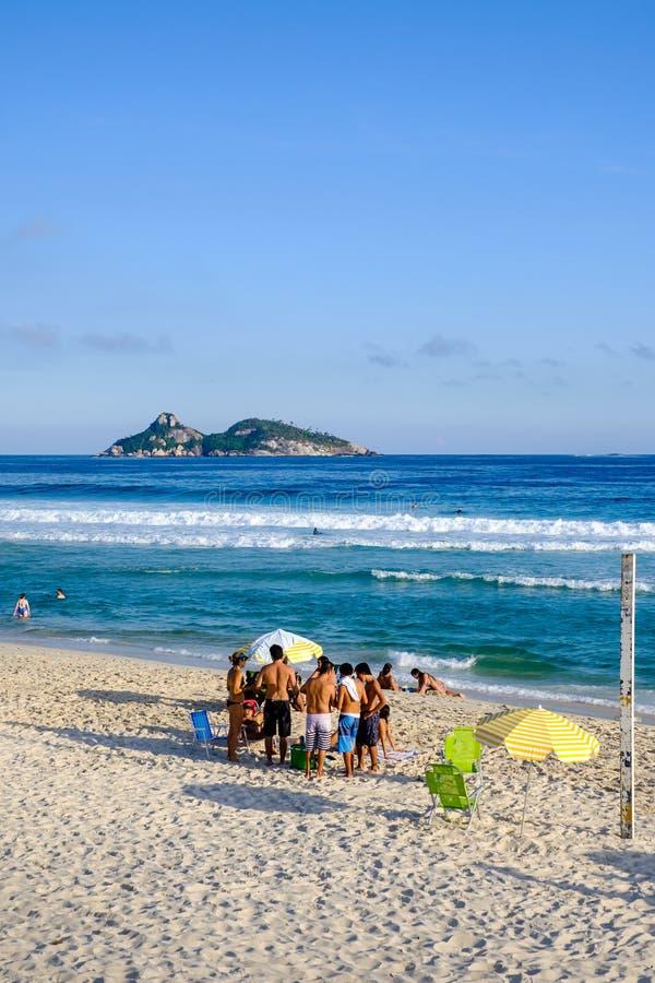 Barra da Tijuca beach on a beatiful afternoon, with Tijucas Islands in the background. Rio de Janeiro royalty free stock photo