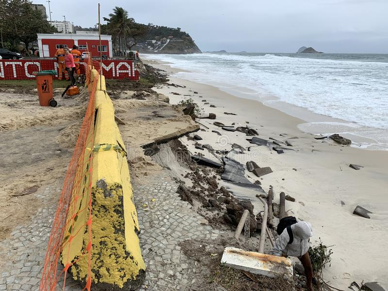 Barra da Tijuca beach after the giant waves. That destroyed the boardwalk stock photo