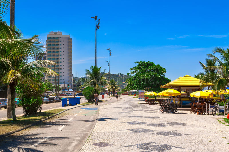 Barra da Tijuca beach with mosaic of sidewalk in Rio de Janeiro. Brazil royalty free stock photos