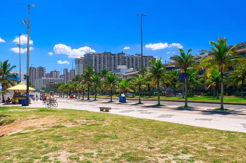 Barra da Tijuca beach with mosaic of sidewalk in Rio de Janeiro. Brazil royalty free stock photography