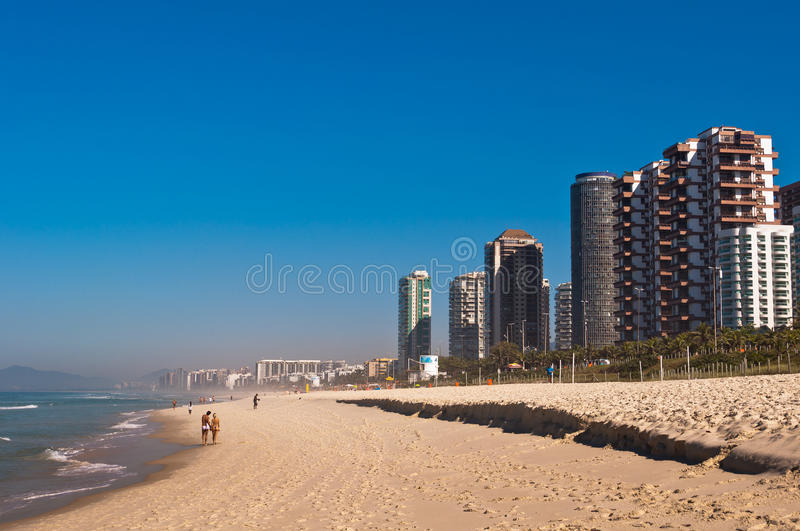 Barra da Tijuca Beach in Rio de Janeiro. Barra da Tijuca Beach with Luxury Condominium Apartment and Hotel Buildings on Sunny Day in Rio de Janeiro, Brazil royalty free stock photography