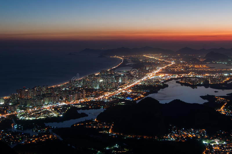 Barra da Tijuca at Night. Night View of Barra da Tijuca District in Rio de Janeiro, Brazil stock photos