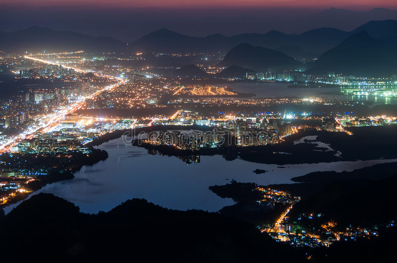 Barra da Tijuca at Night. Night View of Barra da Tijuca District in Rio de Janeiro, Brazil stock photo
