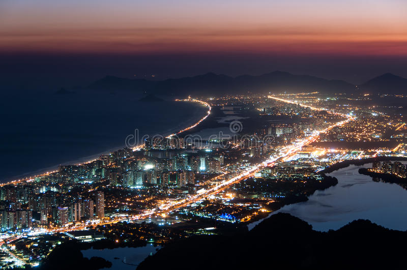 Barra da Tijuca at Night. Night View of Barra da Tijuca District in Rio de Janeiro, Brazil royalty free stock photos
