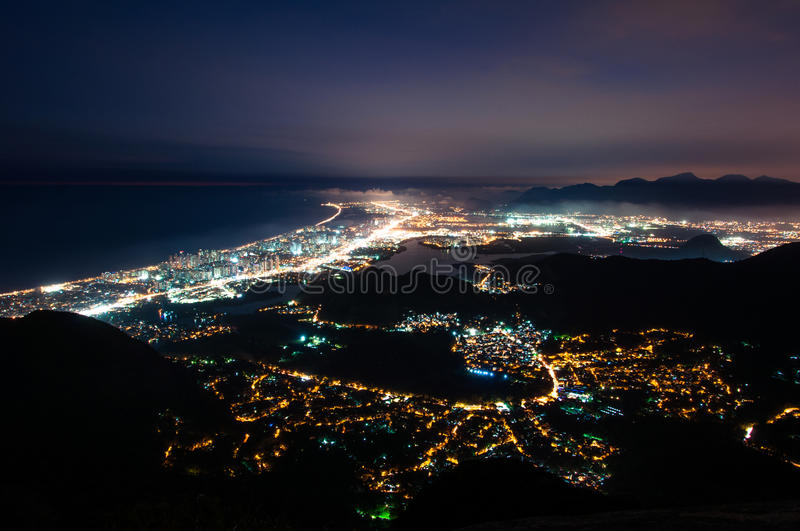 Barra da Tijuca at Night. Night View of Barra da Tijuca District in Rio de Janeiro, Brazil royalty free stock photo