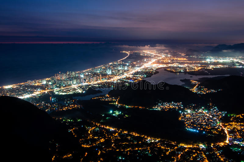 Barra da Tijuca at Night. Night View of Barra da Tijuca District in Rio de Janeiro, Brazil royalty free stock image