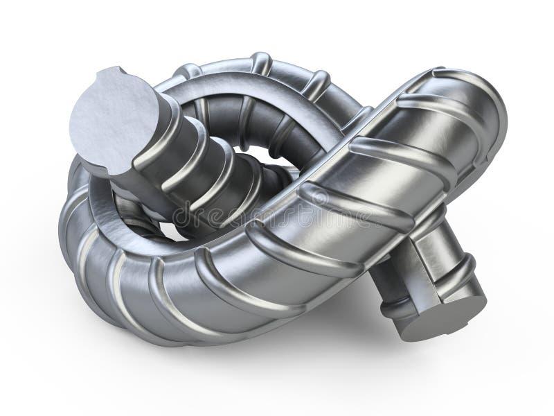 Barra de acero de los nuevos refuerzos torcida por un cierre del nudo para arriba ilustración del vector