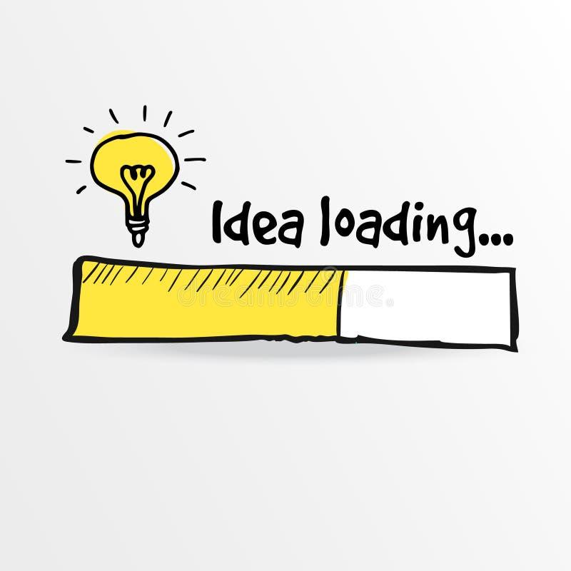 Barra de carga com bulbo, faculdade criadora, ideia grande,