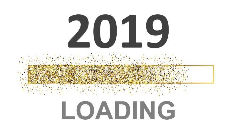 """Barra de carga del arenador del oro 2019 Expectativa del †del día de fiesta """"para la acción stock de ilustración"""