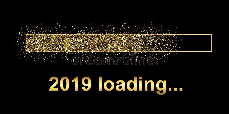 Barra de carga del arenador del oro 2019 Expectativa del día de fiesta - stock de ilustración