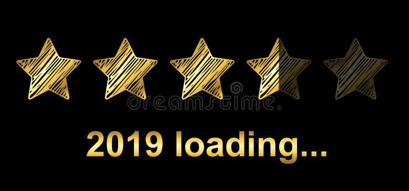 Barra de carga del arenador del oro 2019 Expectativa del día de fiesta - vector libre illustration