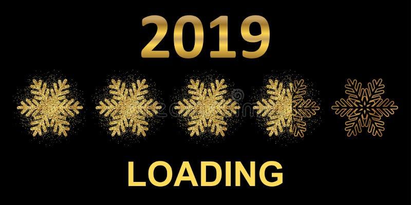 Barra de carga del arenador del oro 2019 Expectativa de la acción del ¬â€œ del 'de ââ del día de fiesta libre illustration