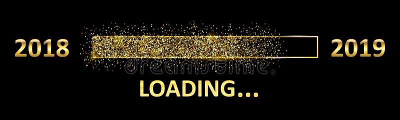 """Barra de carga 2019 do dinamitador do ouro Expectativa do feriado Desde 2018 até 2019 †do ano """" ilustração royalty free"""