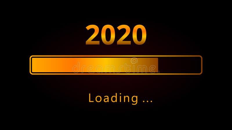 Barra de carregamento alaranjada do progresso do ano 2020 novo feliz isolada no fundo preto Bandeira, cartaz, cartão ou invitat d ilustração do vetor